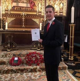 Dominic Jones MYP at the remembrance service in London
