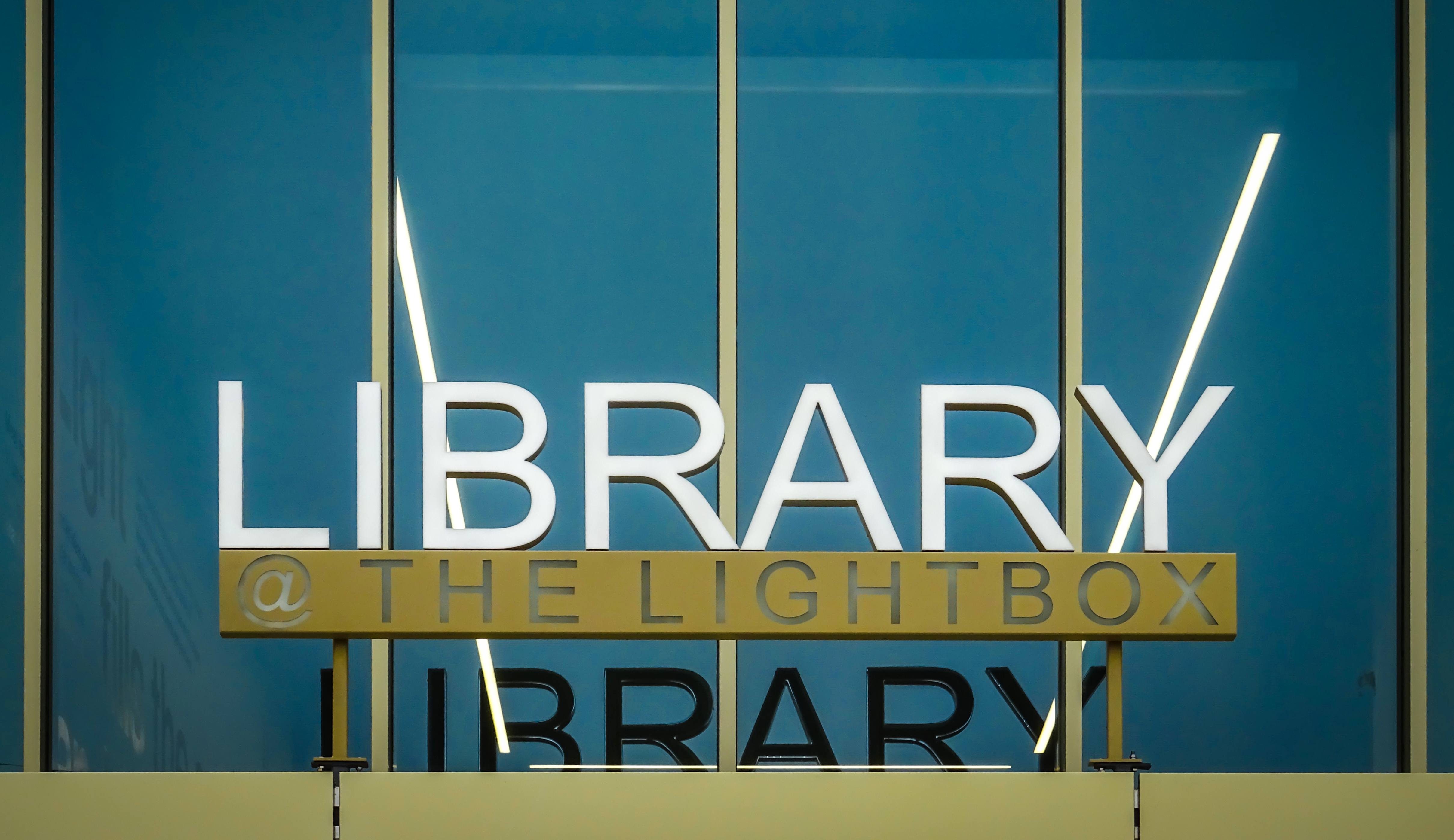 Library at the lightbox sign