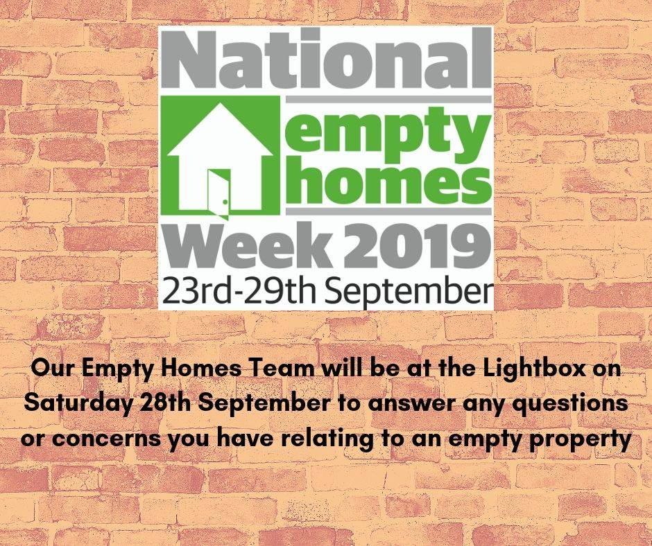 National empty homes week 2019 poster on a brick wall