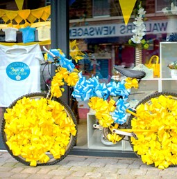 Decorated bike outside shop