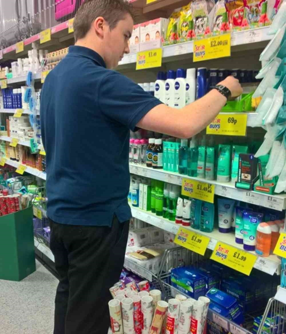 Josh working at Quality Save