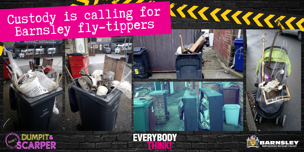photos showing examples of fly tipping incidents
