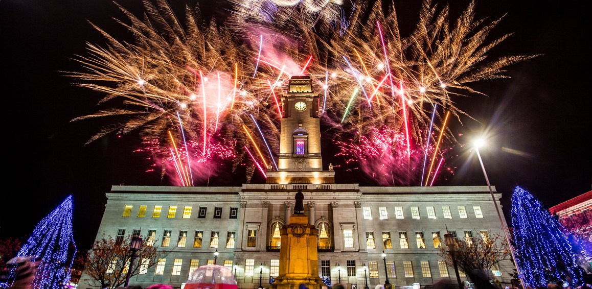 Fireworks at the town hall