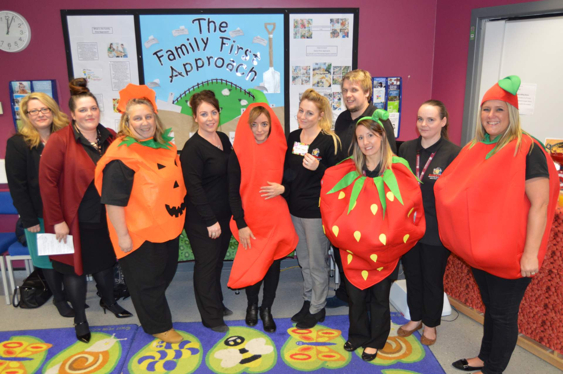 The family first approach team dresses in pumpkins, strawberries, tomatoes and chillies resize