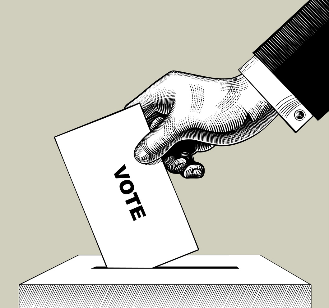 Drawn hand putting a voting slip in a box