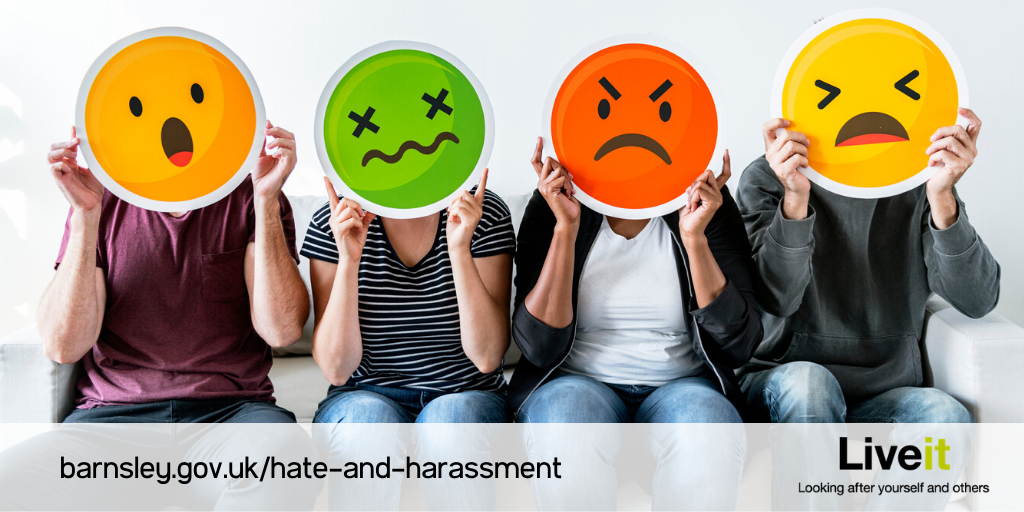 Hate crime campaig shows different people holding up negative emojis.png