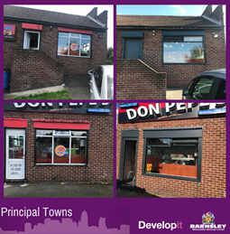 Shop front and windows for Don Pepe's - Lundwood