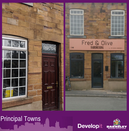 Doors, windows and signage with lighting for Fred and Olive Hairdressing - Dodworth