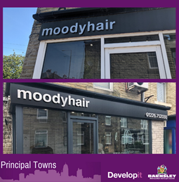 Signage and shop front for Moody Hair - Darfield