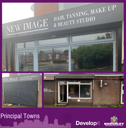 Shutters, signage and windows for New Image - Hoyland