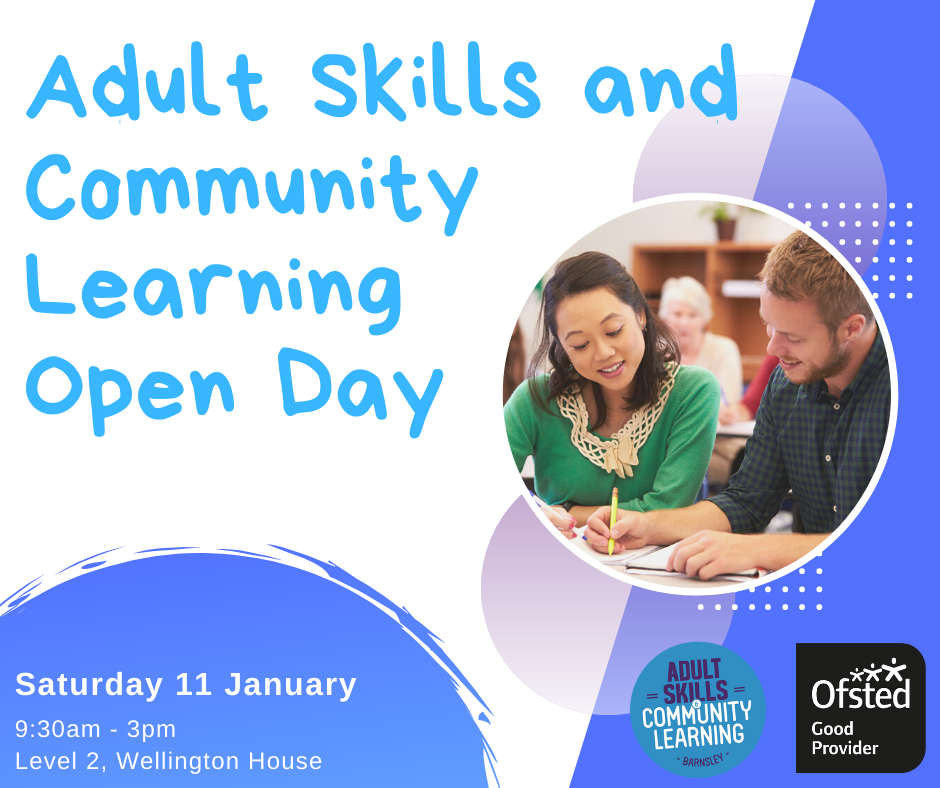 Adult skills and community learning open day poster