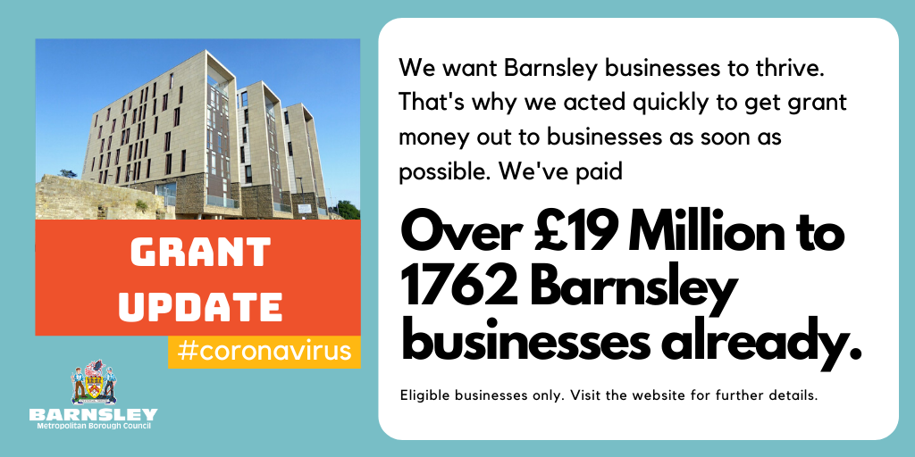 Over £19 million paid to 1762 Barnsley businesses in grant funding