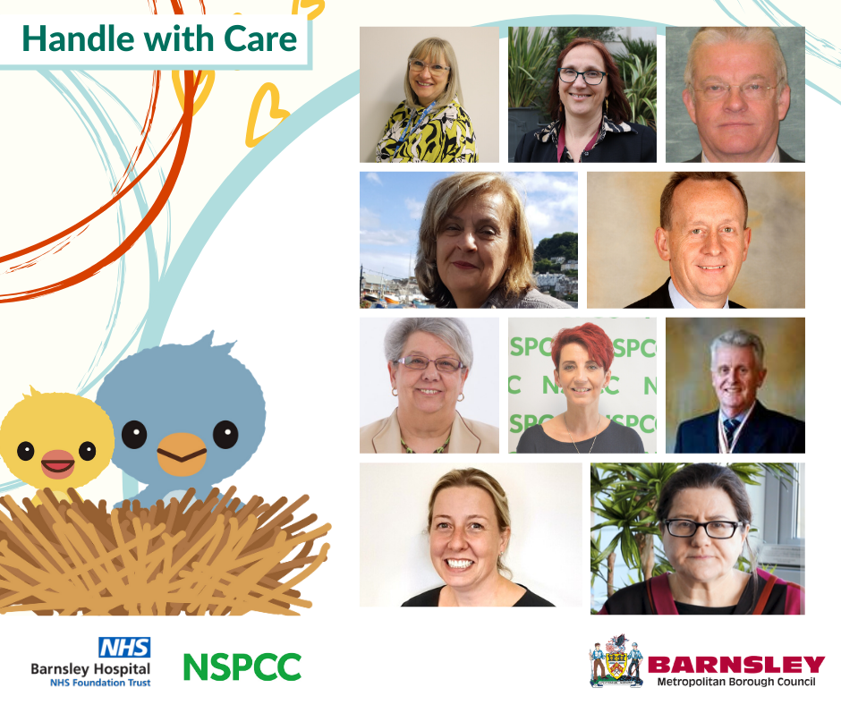 Handle with Care booklet including photos of employees at Barnsley Council, Barnsley Hospital and NSPCC