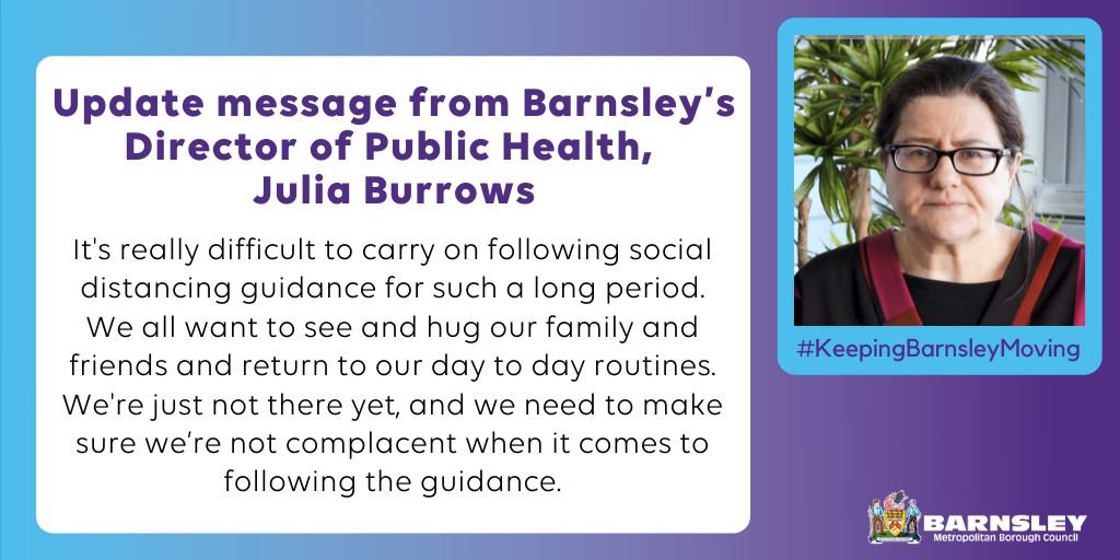 update message from Barnsley's director of public health, Julia burrows.