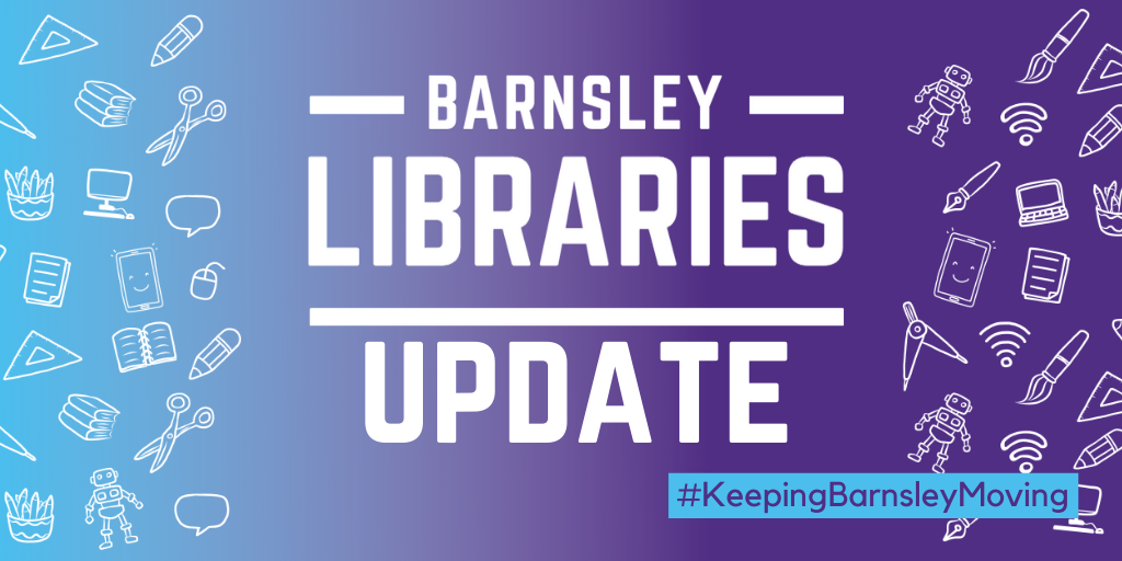 Barnsley libraries logo with text saying update.png