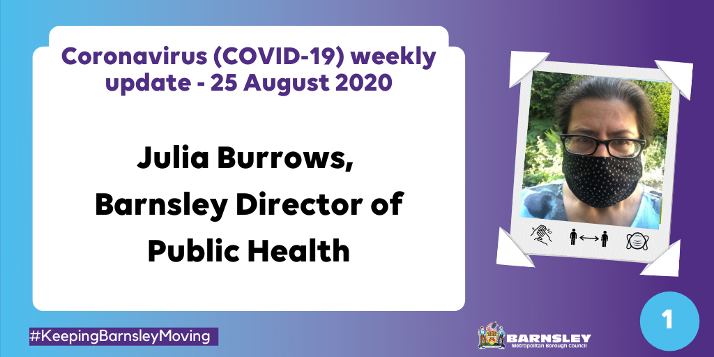 Coronavirus (COVID-19) weekly update - 25 August 2020 - Julia Burrows, Barnsley Director of Public Health