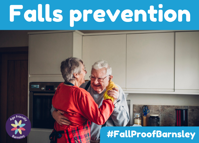 Falls prevention 2020 - elderly man and woman dancing in the kitchen