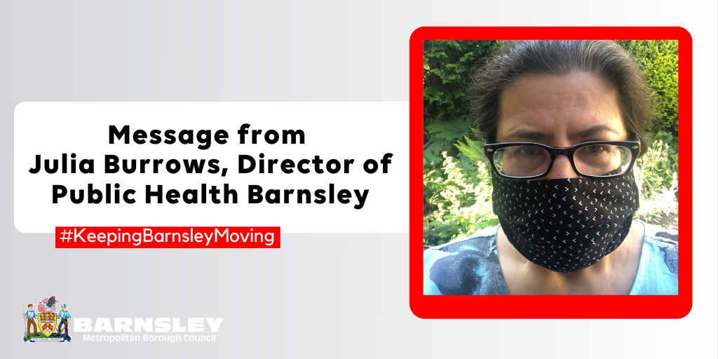 Picture of Julia Burrows, Director of Public Health Barnsley wearing a face mask