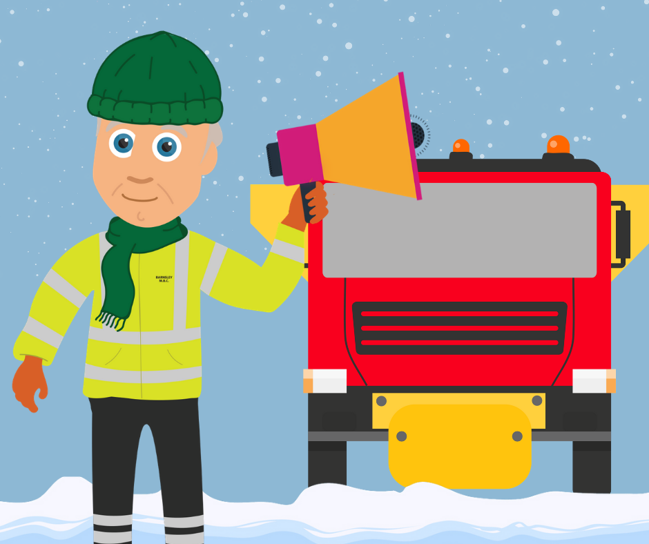 Cartoon drawing of workman and gritter lorry in the snow