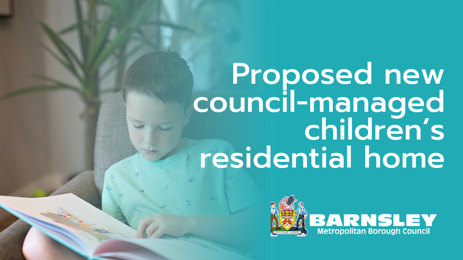 Proposed new council-managed children's home. Boy reading a book.