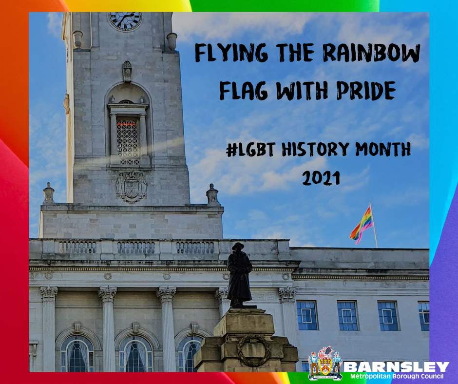 Barnsley Town Hall flying the rainbow flag with pride #LGBT History month 2021