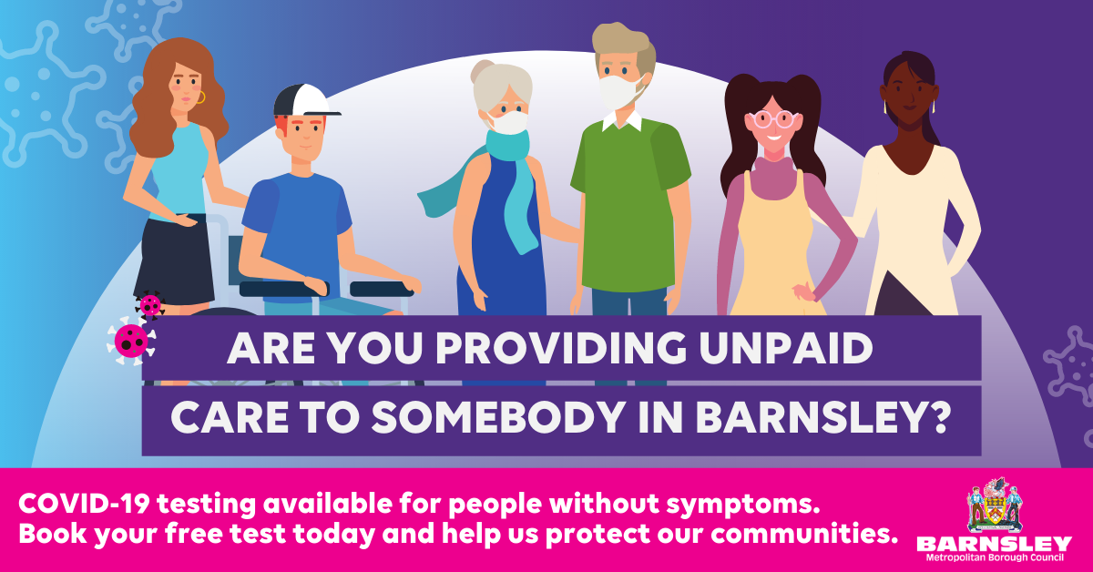 Image of unpaid carers providing support with the caption: Are you providing unpaid care to someone in Barnsley?