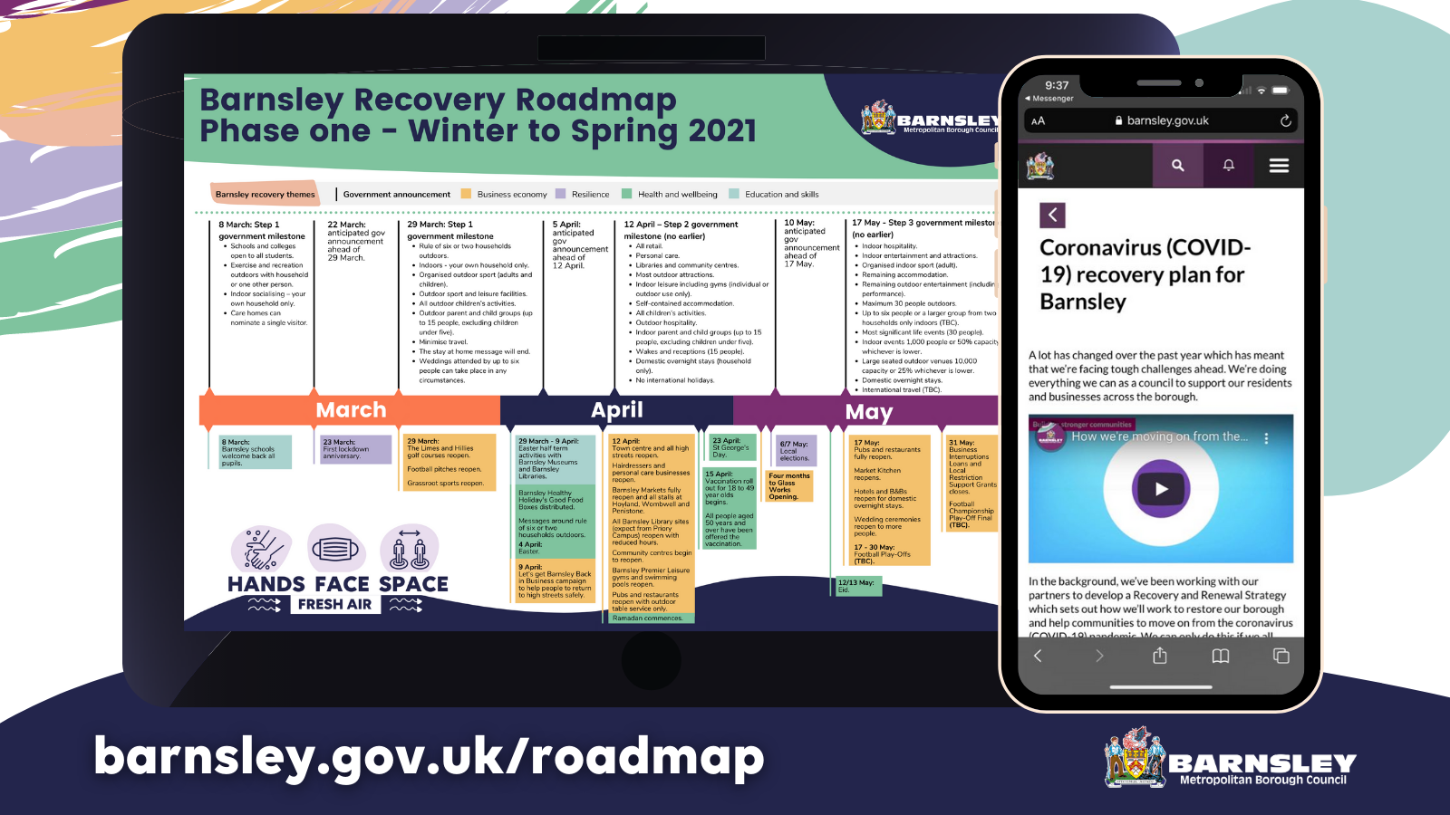 Image of Barnsley's recovery roadmap and webpage