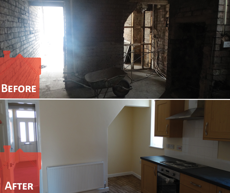 Before and After picture inside house