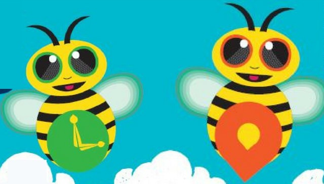 Cartoon bees - one with a clock on its chest and the other with a pin pointer on its chest