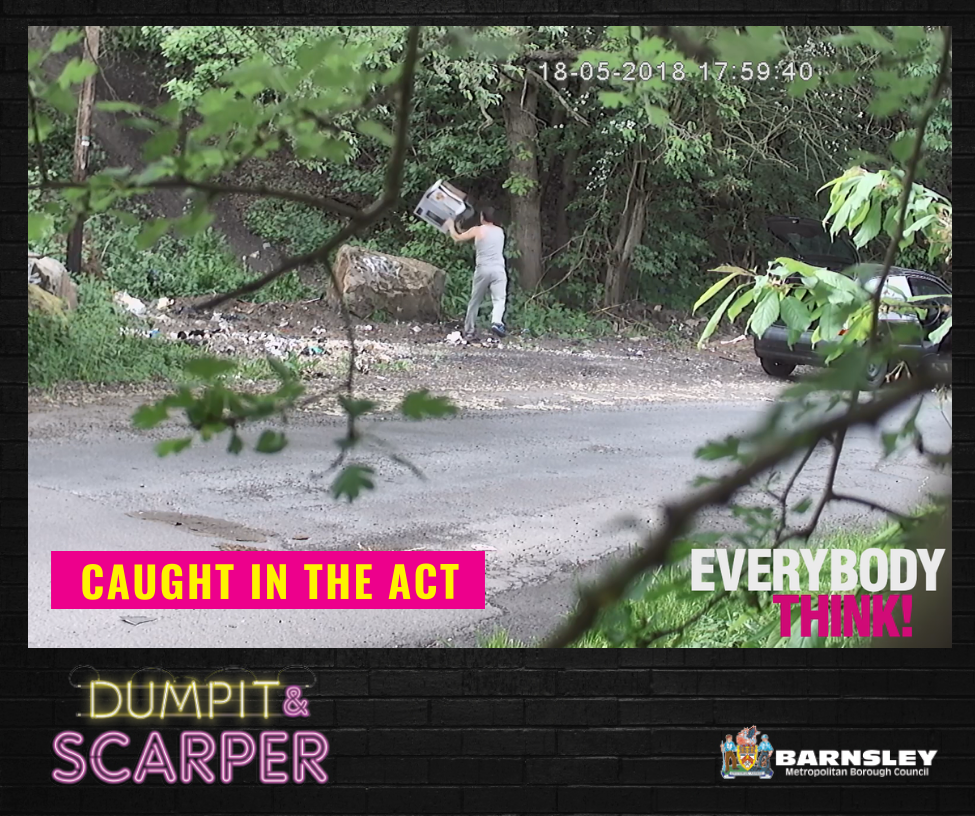 Everybody think - caught in the act - dumpit and scarper - man dumping rubbish in a forest